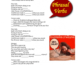 Song Worksheet: Hey, Julie (Phrasal Verbs)