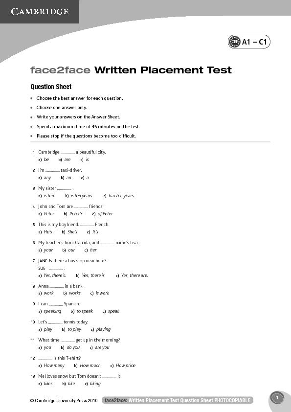 Written Placement Test of Cambridge