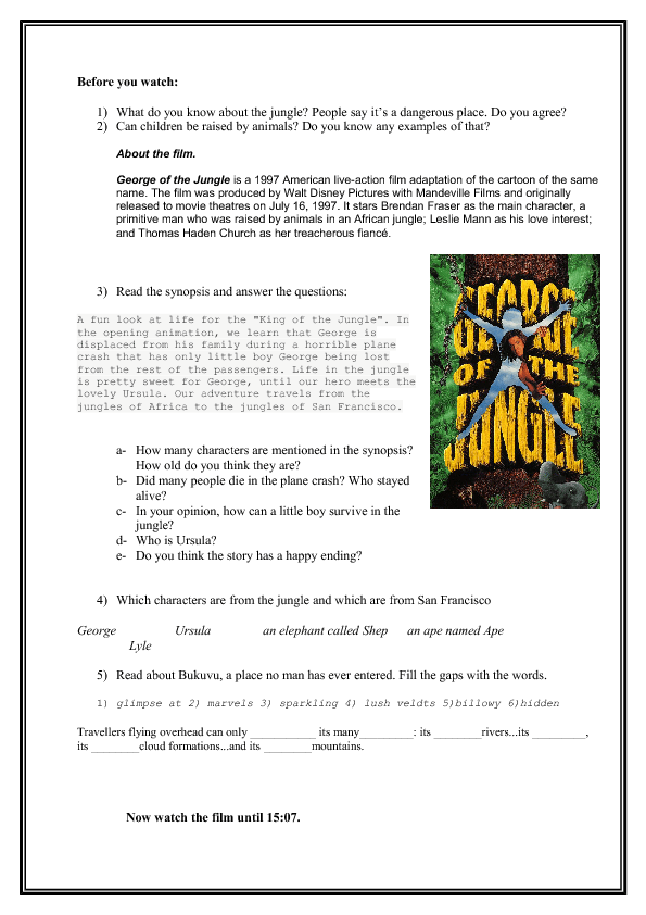 Movie Worksheet George Of The Jungle Part 1