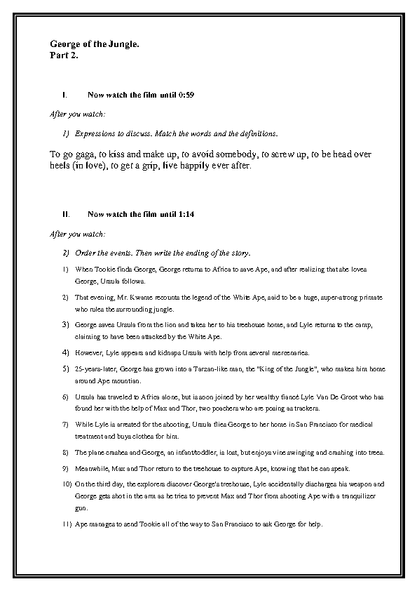 Worksheet: George Of The Jungle. Part 2