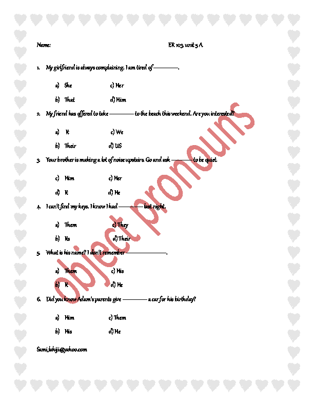 Pronouns – Object Pronoun Worksheets