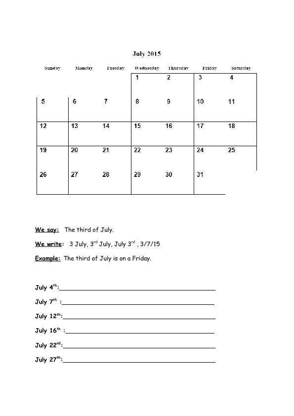 108 Free Monthsdays Of The Week Worksheets