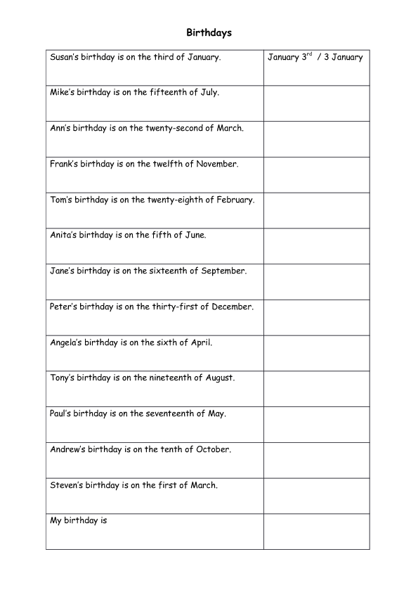 33 FREE Dates Worksheets