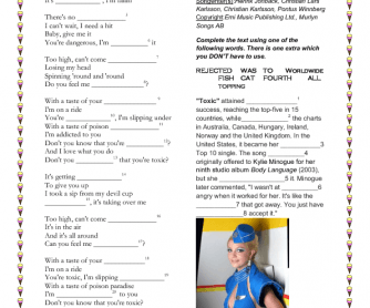 Song Worksheet: Toxic by Britney Spears