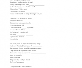 Song Worksheet: Medicine by Shakira