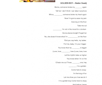 Song Worksheet: Golden Boy by Nadav Guedj (Eurovision 2015)