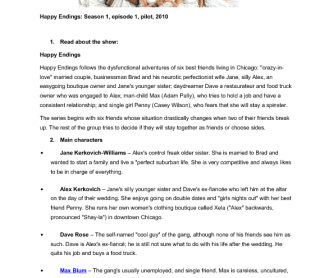 Movie Worksheet: Happy Endings, Song Worksheet: My Happy Ending by Avril Lavigne