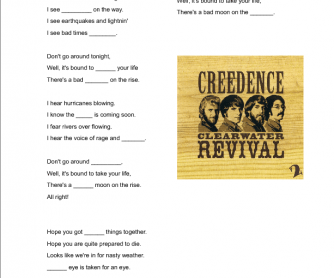Song Worksheet: Bad Moon Rising by Creedence Clearwater Revival