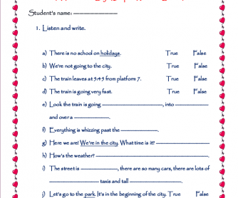 Story Book Worksheet : A Visit to the City (Listening)
