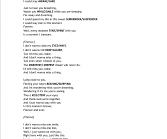 Song Worksheet: I Don't Wanna Miss a Thing by Aerosmith