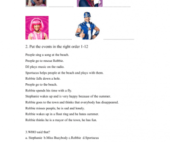Movie Worksheet: Lazy Town - First Day of Summer
