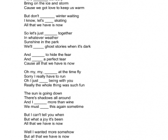 Song Worksheet: All That We Have Is Now