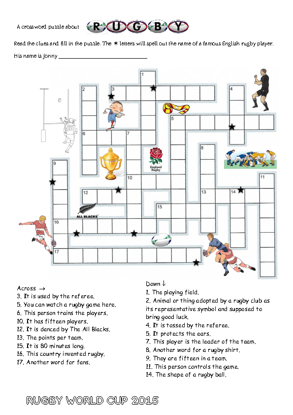 Modular Classroom Crossword ~ Free sports and hobbies worksheets