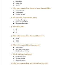 Movie Worksheet: The Simpsons