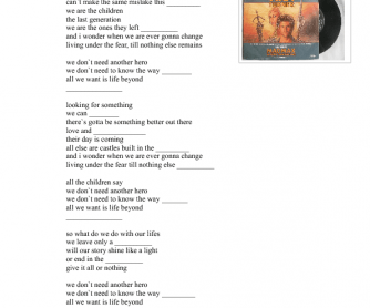 Song Worksheet: We Don't Need Another Hero