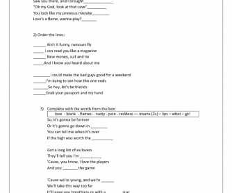 Song Worksheet: Blank Space by Taylor Swift