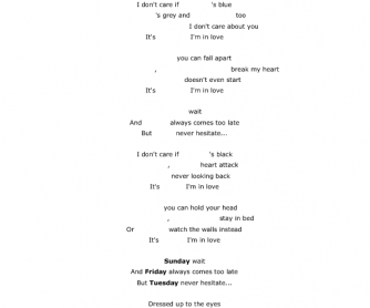 Song Worksheet: Friday I'm in Love (Days of the Week)