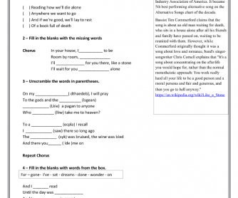Song Worksheet: Like a Stone