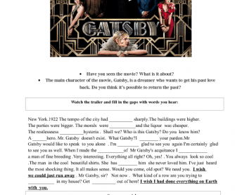 Movie Worksheet: The Great Gatsby. Trailer Activity. Sentences with I Wish