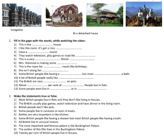 Movie Worksheet: Homes in Britain (Types of Houses)