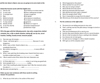 Reading and Comprehension: Hijack on the Plane