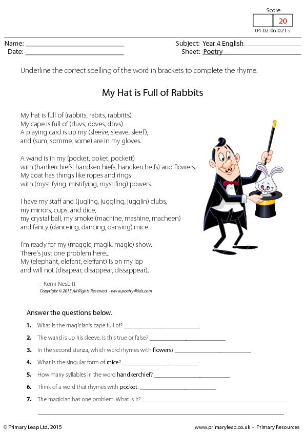 85 FREE Humour Worksheets – Poetry Comprehension Worksheets