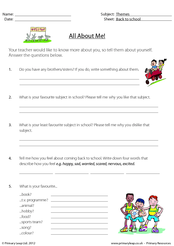 207 FREE Getting-to-Know Each Other Worksheets