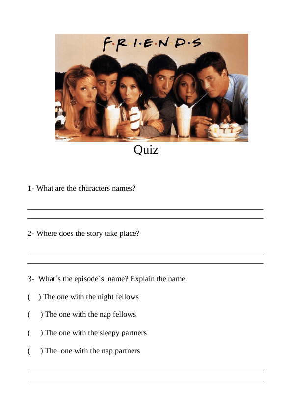 Movie Worksheet: Friends  Season 7  The One with the Nap Partners (Quiz)