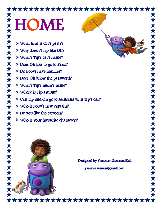 Movie Worksheet Home Cartoon