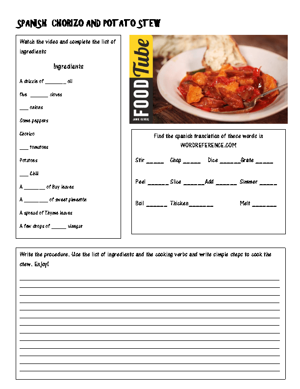 82 free cooking worksheets cooking a spanish recipe forumfinder Choice Image