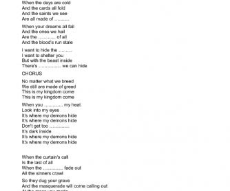 Song Worksheet: Demons by Imagine Dragons