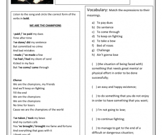 Song Worksheet: We Are the Champions