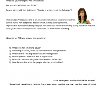 Movie Worksheet: Ted Talk Lizzie Velasquez