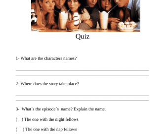 Movie Worksheet: Friends. Season 7. The One with the Nap Partners (Quiz)