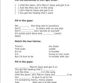 Song Worksheet: Marvin Gaye