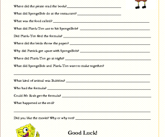 Movie Worksheet:SpongBob Movie; Sponge out of Water