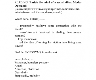 Inside the Mind of a Serial Killer: Modus Operandi