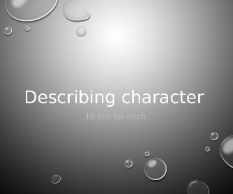 Describing Character PPT