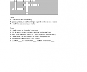 Punctuation Definition Crossword