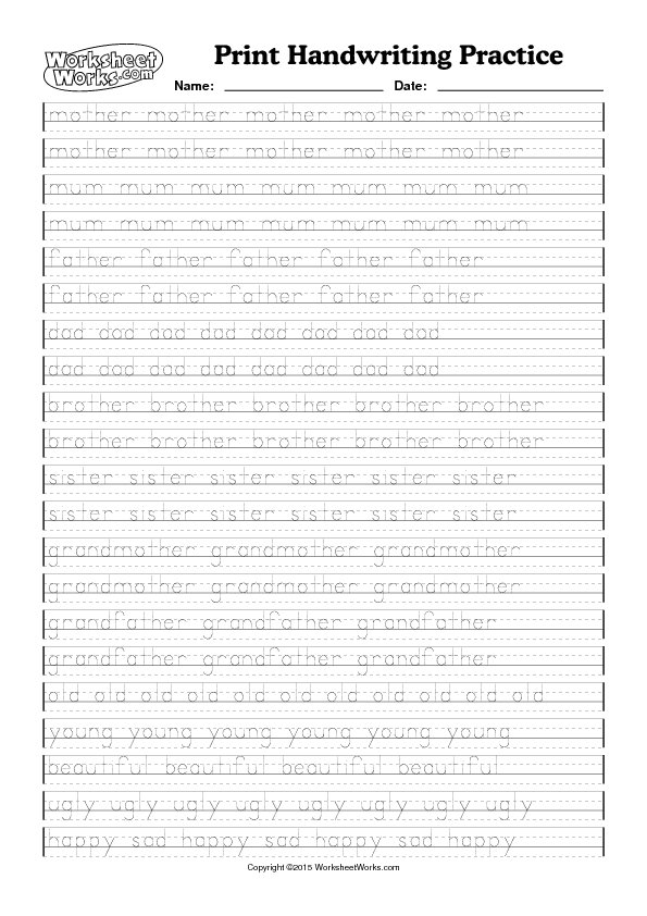 Worksheet – Handwriting Worksheet