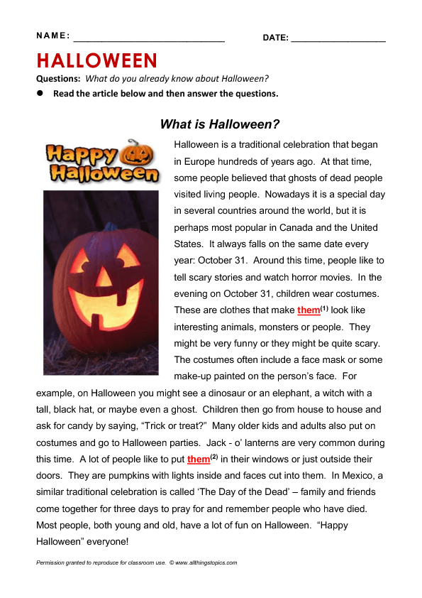 Printable Worksheets halloween homework worksheets : is Halloween? Reading & Grammar Practice