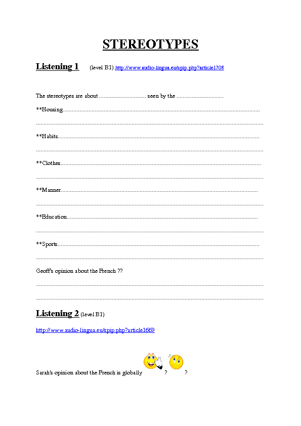 Printables Stereotype Worksheets stereotype worksheets syndeomedia listenings about stereotypes