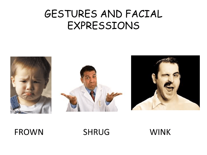 a description of gestures and facial expressions often communicate what words cannot say