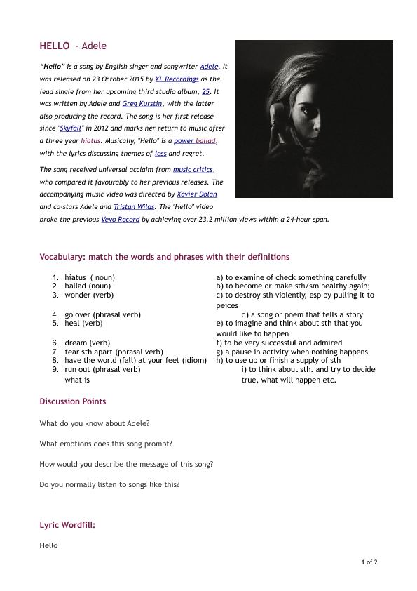 Worksheet Hello By Adele Vocabulary And Reading