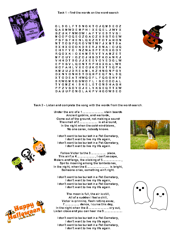 Printables Halloween Worksheets For Middle School 214 free halloween worksheets song worksheet pet cemetery by ramones