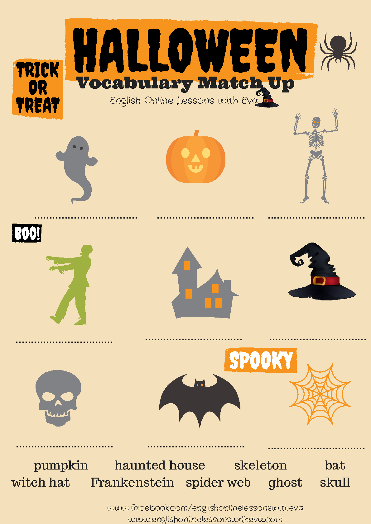 Worksheets Halloween Worksheets For Middle School 214 free halloween worksheets vocabulary match up
