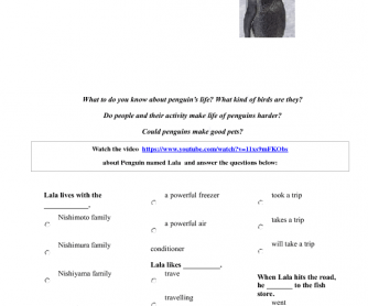 Movie Worksheet: The Pet Penguin (Used To)