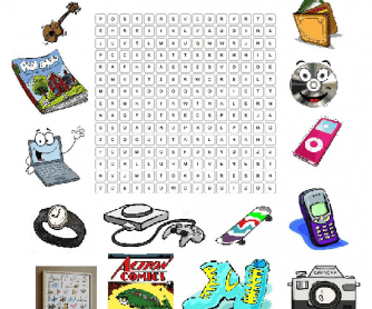 Personal Objects Wordsearch