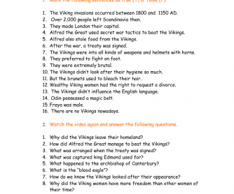 Movie Worksheet: The Vikings: Myth vs. Fact - Anglophenia Ep. 40