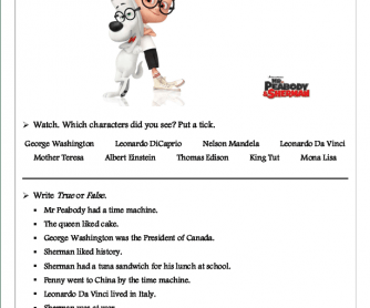 Movie Worksheet: Mr Peabody and Sherman